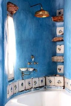 Ideas for bath room colors boho blue walls Bad Inspiration, Bathroom Inspiration, Blue Bathtub, Bathtub Tile, Deco Retro, Tadelakt, Room Tiles, Best Bath, Blue And Copper
