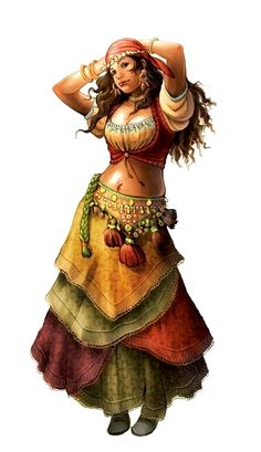 Female Human Dancer Bard - Pathfinder PFRPG DND D&D d20 fantasy