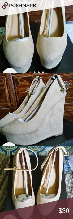 JustFab Nude Wedges. Size 6. Nude Wedges by JustFab. Size 6. Only worn once. JustFab Shoes Wedges