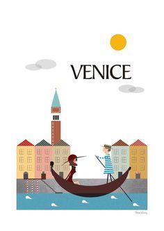 Ciudad Venecia imprimir cartel de viaje mediados de siglo modernos arte viajes…