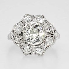 Gorgeous 2.24ct t.w. 1920's Edwardian Old European Cut Diamond Engagement Ring Platinum | Antique & Estate Jewelry | Jewelry Finds