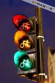 Amsterdam has its own bike lanes with signal lights.