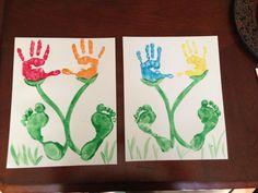 Hand & Footprint art my boys did. LOVE it! Plus it was soo much fun doing with them :) #diy #kids #crafts