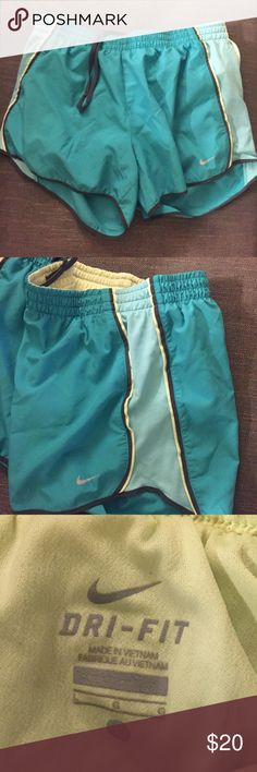 Nike Dri-Fit Green and Teal Shorts Nike Dri-Fit Shorts with drawstring. Teal shorts with built in lime green lining, light teal sides, and gray details. Nike Shorts