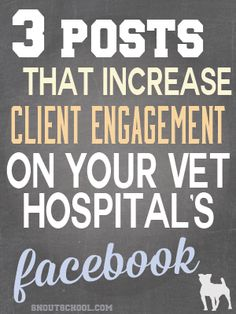 3 Veterinary hospital Facebook posts that increase client engagement & your reach. Great for a veterinarian or vet tech that is trying to grow their practice's Facebook! www.snoutschool.com