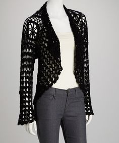 Take a look at this Black Crocheted Open Cardigan by Papillon Imports on #zulily today!
