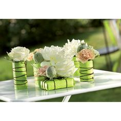 Evergreen by Nastri Brizzolari. Ideal for table wedding decoration. Flower sushi.