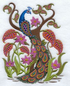 """""""Paisley Peacock"""" Machine Embroidery from """"Embroidery Library Inc"""" -- Click here for the entire peacock design library, many of which are quite stunning: http://www.emblibrary.com/EL/Browse.aspx?Catalog=Emblibrary&Category=creatures+of+air/Peacocks"""