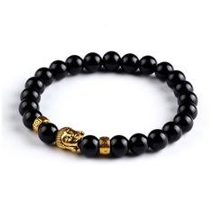 Tiger Eye Buddha Bead Bracelet For Men and Women - Black Gold