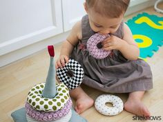 Make these cute DIY stackable fabric rings for baby.