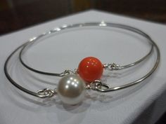 Pearl and Silver Bangle Bridesmaid Gifts by Jenalynscreations, $14.99