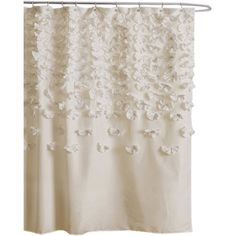 Featuring handmade cascading floral accents, this charming ivory shower curtain makes the perfect addition to your master bathroom.  Prod...
