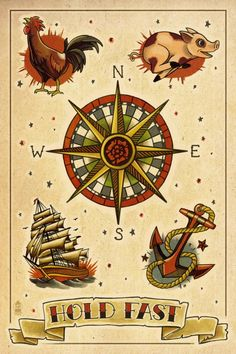 anchor compass rooster pig ship