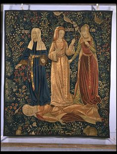 The Three Fates; The triumph of Death. Tapestry, Netherlands, early 16th c.       The three fates, Clotho, Lachesis and Atropos, represent Death in this tapestry, as they triumph over the fallen body of Chastity. In mythology the Fates controlled the span of human life; Clotho was the spinner, Lachesis was the drawer of lots, and Atropos represented the inevitable end to life.