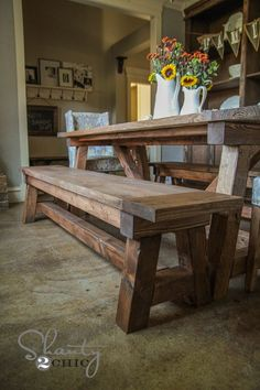 Build the truss beam farmhouse table! Free step by step plans from Ana-White.com. #anawhite #anawhiteplans #diy #diyfurniture #farmhouse #trussbeam #diytable #4x4 #shanty2chic Farmhouse Table With Bench, Kitchen Table Bench, Farmhouse Kitchen Tables, Dining Table With Bench, Farmhouse Furniture, Diy Table, Dining Room Table, Rustic Furniture, Furniture Plans