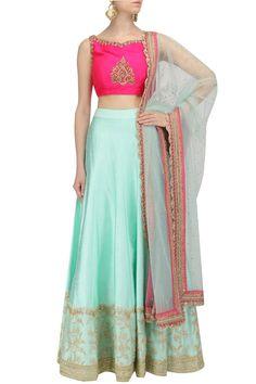 Aqua Blue Embroidered Lehenga and Hot Pink Blouse Set by Megha & Jigar Lehenga Skirt, Lengha Choli, Hot Pink Blouses, Dupion Silk, Pernia Pop Up Shop, Embroidered Blouse, Indian Outfits, Aqua Blue, Indian Fashion