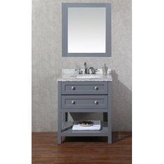"Stufurhome Marla 30"" Single Modern Bathroom Vanity Set with Mirror"