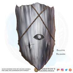 {The Griffon's Saddlebag} Bulette Bulwark | Armor (shield) : TheGriffonsSaddlebag Druid Dungeons And Dragons, Dungeons And Dragons Homebrew, Magic Armor, Medieval Shields, Au Ideas, Dnd 5e Homebrew, Shield Design, Dragon Ring, Concept Weapons