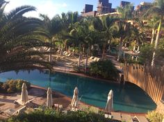 View from balcony onto lazy river pool, Lopesan Baobab, Gran Canaria