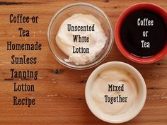 Recipe for coffee or tea sunless tanning lotion.