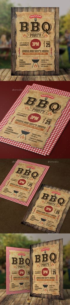 BBQ Invitation — Photoshop PSD #summer #event • Download ➝ https://graphicriver.net/item/bbq-invitation/18851274?ref=pxcr