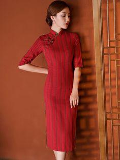 Red Striped Linen Midi Qipao / Cheongsam Dresss - CozyLadyWear