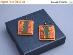 Xmas SALE Polymer clay earrings embossed flower art by PastimeArt