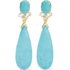Gold-tone, turquoise and quartz earrings