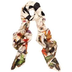 McQ Alexander McQueen Hummingbird And Tree Giant Silk Scarf | GarmentQuarter
