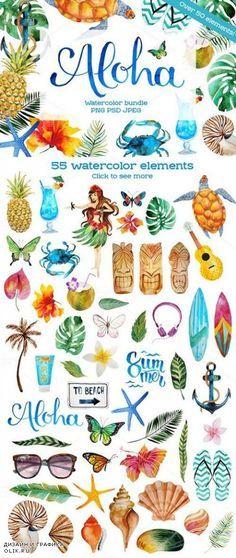 Aloha - watercolor bundle - 732339