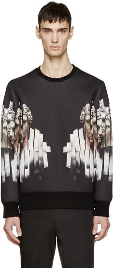 Neil Barrett Black Neoprene Sliced Hercules Sweatshirt