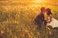 Bride and groom in a field of gold // The Color Engagement: Samuel and Jessica's Pre-Wedding Shoot