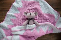 FREE SHIPPING Pink Knit baby girl blanket 9595 cm by FillinHome