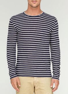 Vince - Linen Long-Sleeve Striped Sweater     @Vincesays ... via @pinterest