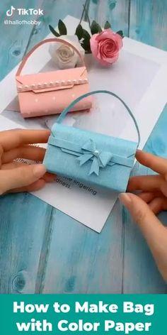 Cute Kids Crafts, Diy Crafts To Do, Diy Craft Projects, Origami Set, Paper Crafts Origami, Diy Paper Bag, Paper Gift Bags, Corner Rangoli, Kids Art Easel