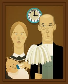 Stanley Chow Illustration of Manchester England American Gothic Parody, American Art, Stanley Chow, Art Grants, Grant Wood, Famous Artwork, Arts Ed, Art Institute Of Chicago, Gothic Art