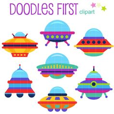 Colorful UFO Digital Clip Art for Scrapbooking Card Making