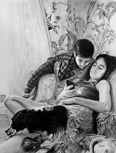 - - - - #art #pencil #drawing #artist #pencildrawing #graphitedrawing #realisticart #realism #blackandwhite #illustration #artistsonpinterest #picoftheday #bnwportraits #portraitdrawing #pencilart #graphite #realisticdrawing #portrait #teenager #fraterie #complicity #brotherandsister Pencil Art, Pencil Drawings, Graphite Drawings, Drawing Artist, Realistic Drawings, Portrait, Illustration, Painting, Three Kids