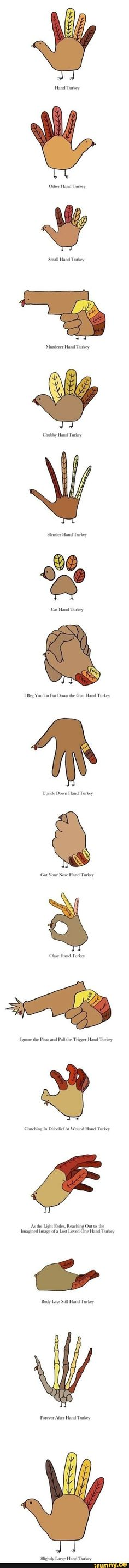 Different hand turkeys to try this Thanksgiving!
