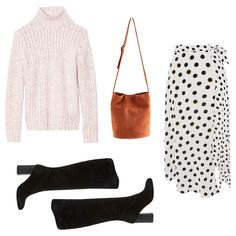 - Choose a polka-dot midi skirt with a handkerchief hem to don with a knit turtleneck and knee boots—a combination fashion girls are religiously wearing this season.