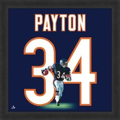 Featured is a Walter Payton framed Chicago Bears jersey photo. This photo has been professionally framed and is approximately **Note: This photo is not signed. Nfl Bears, Bears Football, Chicago Bears, Football Players, Jersey Uniform, Framed Jersey, Walter Payton, Football Memorabilia, Bear Logo