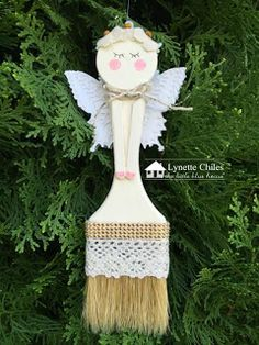 The Little Blue House: 12 Days of Ornaments Altered Paint Brush Angel