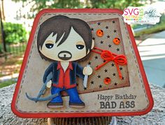 Walking Dead Daryl SVG! Once this card has been pinned 150 times the free SVG will be loaded into the SVG Cutting Files Galleria! https://www.facebook.com/groups/448820591850196/