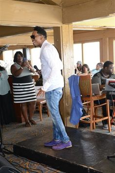 Deitrick Haddon and me in the background recording this anointed and dynamic worship!@ #KJLH Gospel Brunch