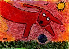 a very good boy e9Art ACEO Dog Outsider Art Brut Folk Painting Original OOAK  #OutsiderArt