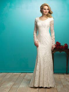 Allure Bridals M545 Dress Lace Scoop Neck Sheer Long Sleeved - Trumpet Skirt, Scoop