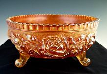 Imperial carnival glass bowl rose pattern marigold