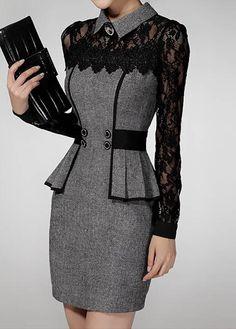 Grey Flat Collar Peplum Waist Lace Panel Dress on sale only US$39.63 now, buy cheap Grey Flat Collar Peplum Waist Lace Panel Dress at liligal.com
