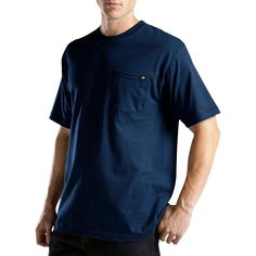 Dickies Men's Big & Tall Short Sleeve Performance Wicking Pocket T-Shirt- Navy (Blue) L Tall