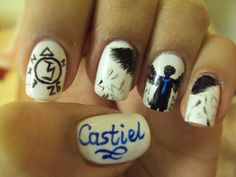 Here are my Castiel from Supernatural nails! I love these a lot and I'm really pleased with how they turned although i could have done the Angel Banishing Symbol a bit better. Supernatural Nails, Supernatural Crafts, Castiel, Crazy Nail Art, Crazy Nails, Cute Nails, Pretty Nails, Hair And Nails, My Nails